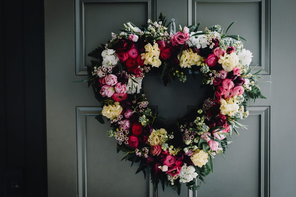 floral wedding heart wreath