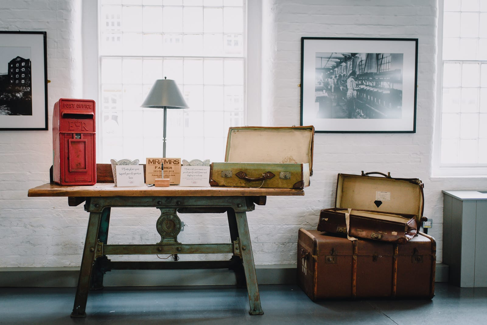 postbox and vintage suitcase