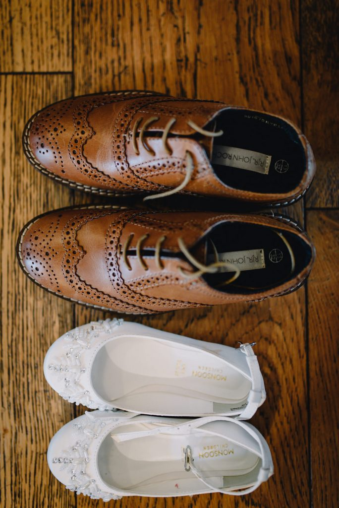 kids wedding shoes at the west mill venue in derby
