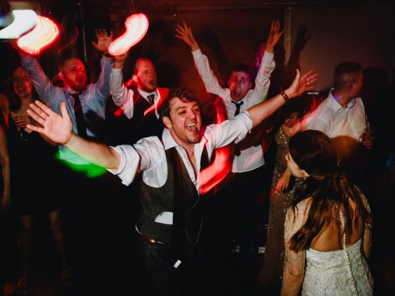 groom on dancefloor at west mill